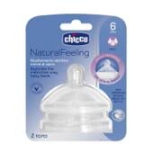 Chicco Tetina Natural Feeling Silicona Flujo Rápido 6M+ 2 Uds